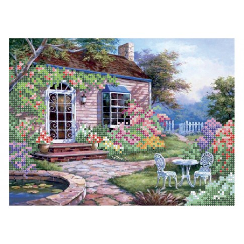 """Bead embroidery pattern """"Cozy patio"""""""