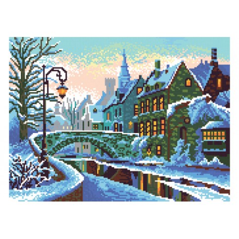 """Bead embroidery pattern """"Winter city"""""""
