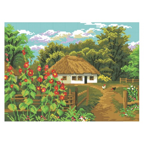 "Bead embroidery pattern ""House in the village"""