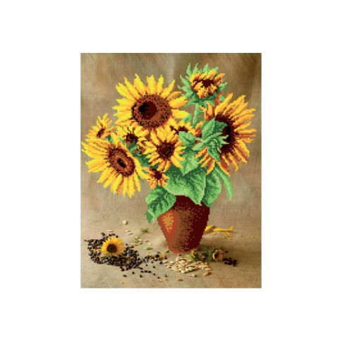 """Bead embroidery pattern """"Bouquet with sunflowers"""""""