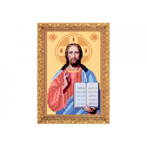 "Bead embroidery kit of icon ""Christ Pantocrator"" А5"