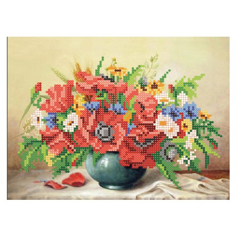 """Bead embroidery kit """"Bouquet with poppies"""""""