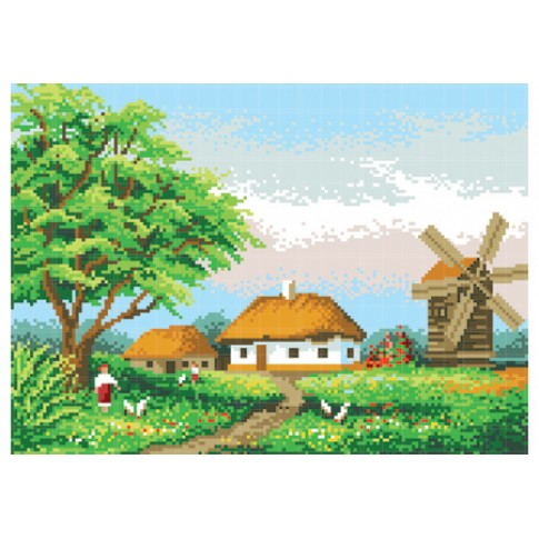 "Bead embroidery pattern ""Rural landscape"""