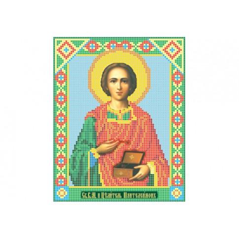 "Bead embroidery pattern of icon ""Saint Pantaleon"""
