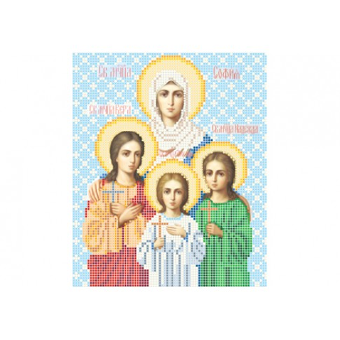 """Bead embroidery pattern of icon """"Saints Faith, Hope and Charity"""""""