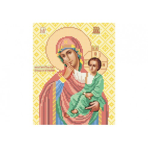 """Bead embroidery pattern of icon """"Our Lady of Vatopedi"""""""