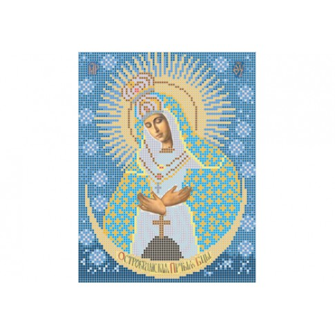 "Bead embroidery pattern of icon ""Our Lady of the Gate of Dawn"""