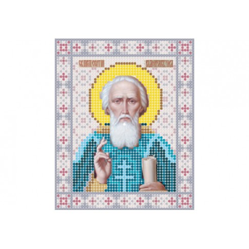 "Bead embroidery pattern of icon ""Saint Sergius of Radonezh"""