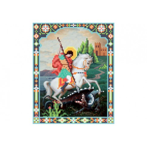 "Bead embroidery pattern of icon ""Saint George of Lydda"""