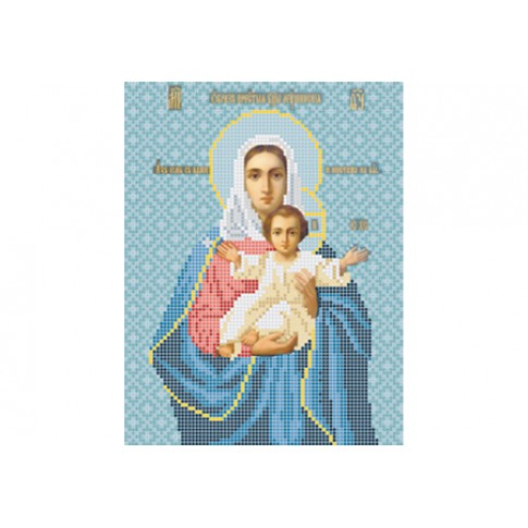 "Bead embroidery pattern of icon ""Mother of God Leushinskaya"""