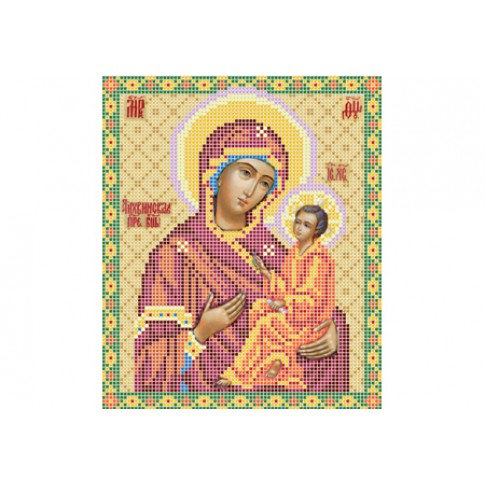 "Bead embroidery pattern of icon ""Theotokos of Tikhvin"""