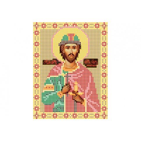 "Bead embroidery pattern of icon ""Saint Igor, Prince of Chernigov"""