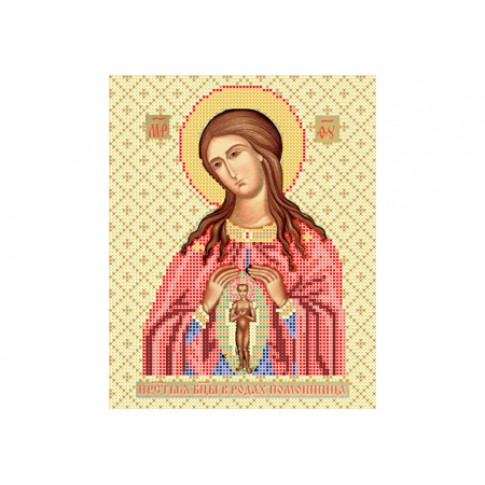 """Bead embroidery pattern of icon """"Mother of God Helping in Childbirth"""""""