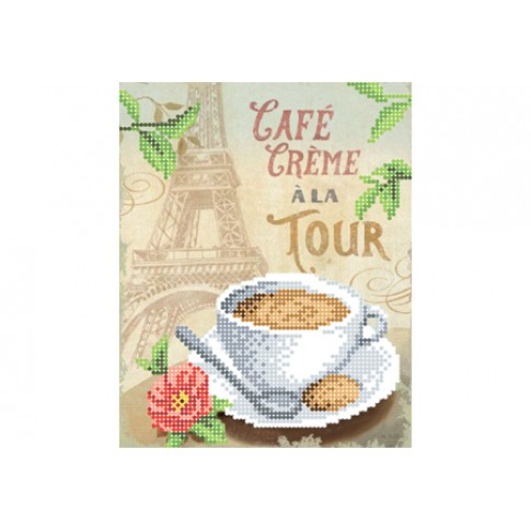 """Bead embroidery pattern """"Coffee with cream near the tower"""""""