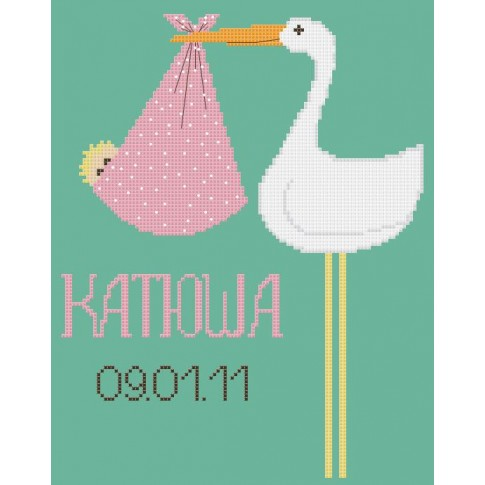 "Free cross stitch pattern ""Baby Birth Announcement"""