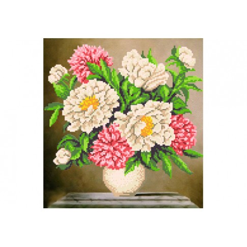 """Bead embroidery pattern """"Bouquet of peonies"""""""