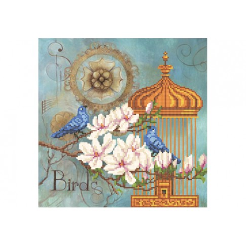 """Bead embroidery pattern """"Blue birds in magnolias"""""""