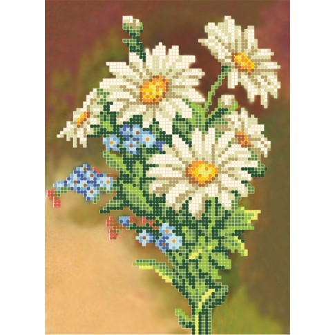 "Bead embroidery pattern ""Bouquet of camomiles"""