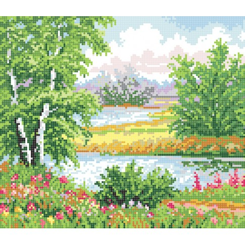 "Bead embroidery pattern ""Forest lake"""