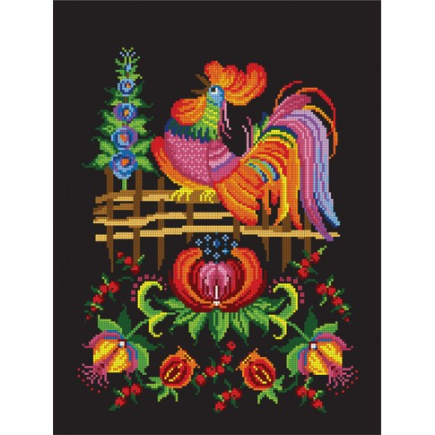 "Bead embroidery pattern ""Cockerel on black"""