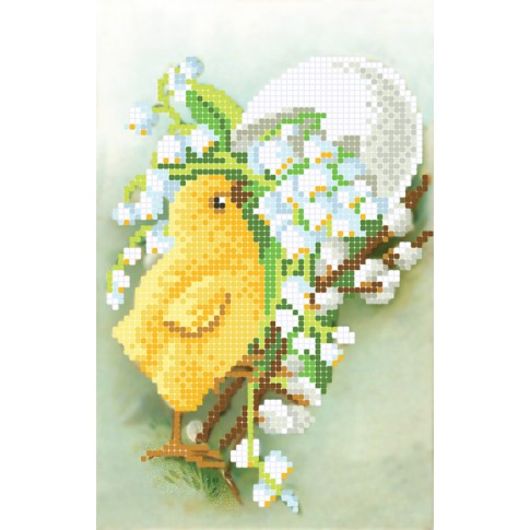 """Bead embroidery pattern """"Chicken and lily of the valley"""""""