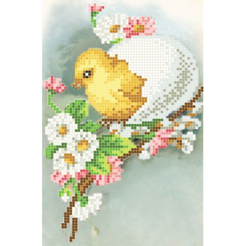 """Bead embroidery pattern """"Chicken and daisies"""""""