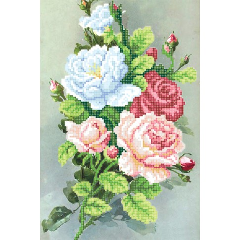"""Bead embroidery pattern """"Morning roses"""""""