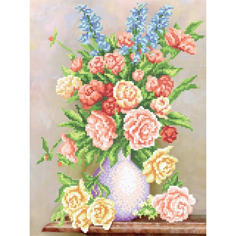 "Bead embroidery pattern ""Bouquet in pink tones"""