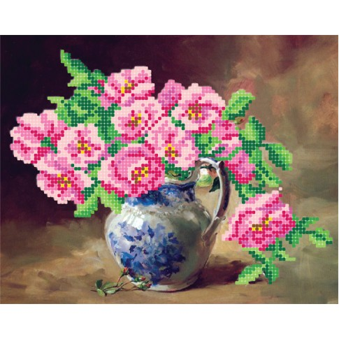 """Bead embroidery pattern """"Pink flowers"""""""