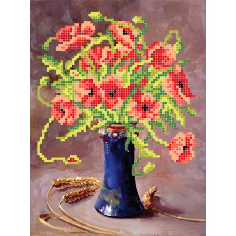 """Bead embroidery pattern """"Poppies in vase"""""""
