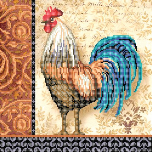 """Bead embroidery pattern """"Blue-tailed cock"""""""