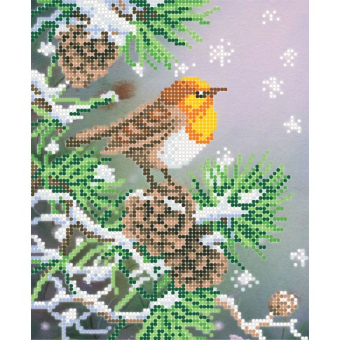 "Bead embroidery pattern ""Orange bird"""