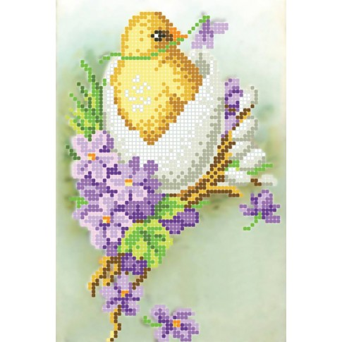 "Bead embroidery pattern ""Chicken in violets"""
