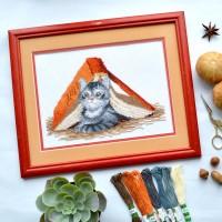 """Mischief cat"" - Cross stitch kit"