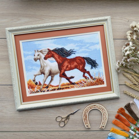 "Cross stitch kit ""Running horses"""