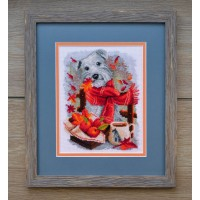 """White terrier"" - Cross stitch kit"