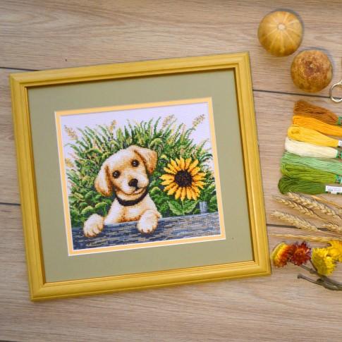 "Cross stitch kit ""Puppy in the grass"""