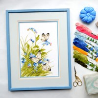 """Butterflies in flowers"" - Cross stitch kit"
