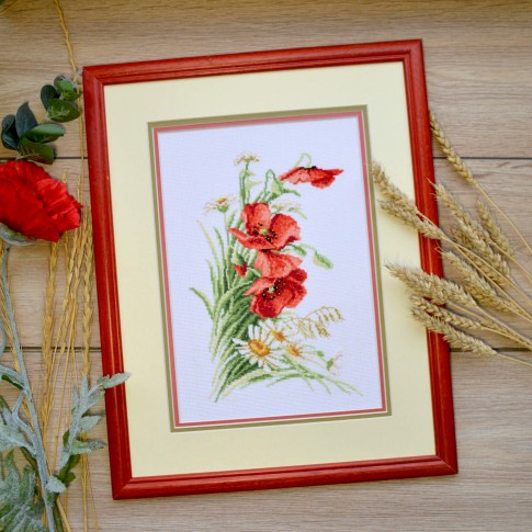 "Cross stitch kit ""Bouquet with poppies"""