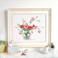 """Eustoma"" - Cross stitch kit"