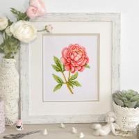 """Pink peony"" - Cross stitch kit"