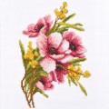 "Cross stitch kit ""Bouquet with mimosa"""