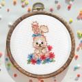"""Cross stitch kit """"Bunny in flowers"""""""