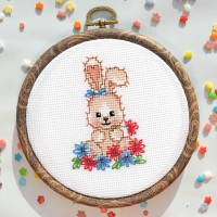 """""""Bunny in flowers"""" - Cross stitch kit"""