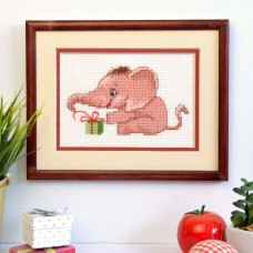 """A gift for elephant"" - Cross stitch kit"