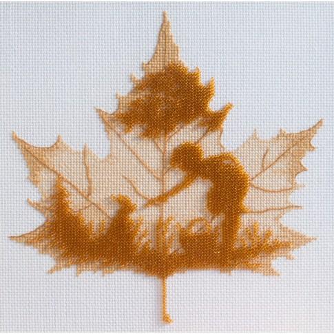 "Beaded cross stitch kit ""Autumn silhouette"""
