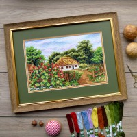 """House in the village"" - Cross stitch kit"