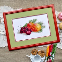 """Still life with a peach"" - Cross stitch kit"