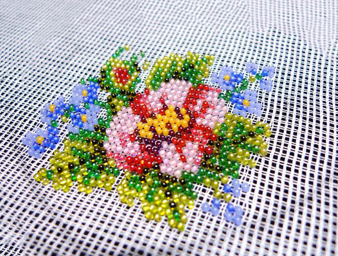 Beadwork on canvas